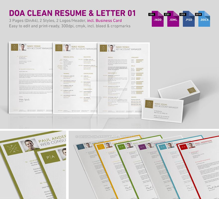 DOA Clean 3-Part Resume 01 incl. Business Card by design-on-arrival
