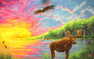 Moose and Eagle Mural