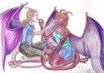 Horus and Jaibyrd as Gargoyles