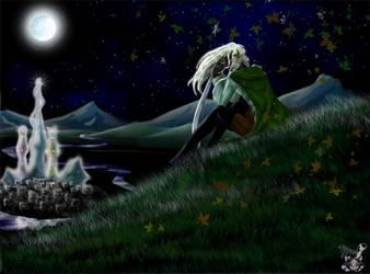 Silvery moon by Ollinatl
