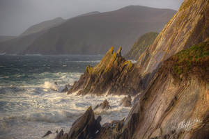 Sunrise over stormy seas