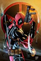 Deadpool Inks By Antonioagustinho-Colored by royhobbitz