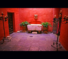 Red patio in Seville