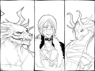 Guild Wars 2 Characters Lineart by Hallowrook