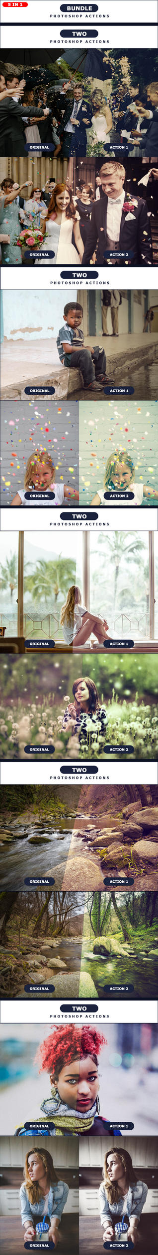TWO - Photoshop Actions BUNDLE 5 IN 1 by PSActionsONLY