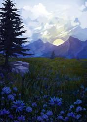 Blue meadow by Snowcatx