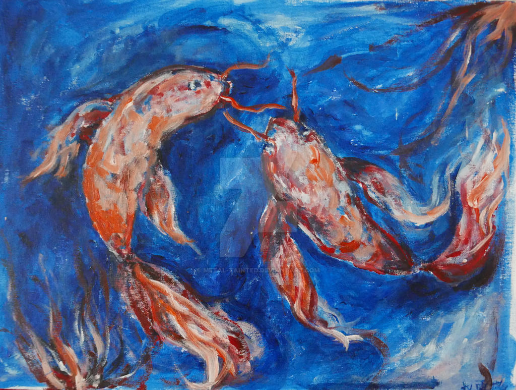Two Fishes, Red in Blue by Metal-Tainted