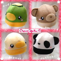 Kappa, bear, chick, panda hats by CherryAbuku