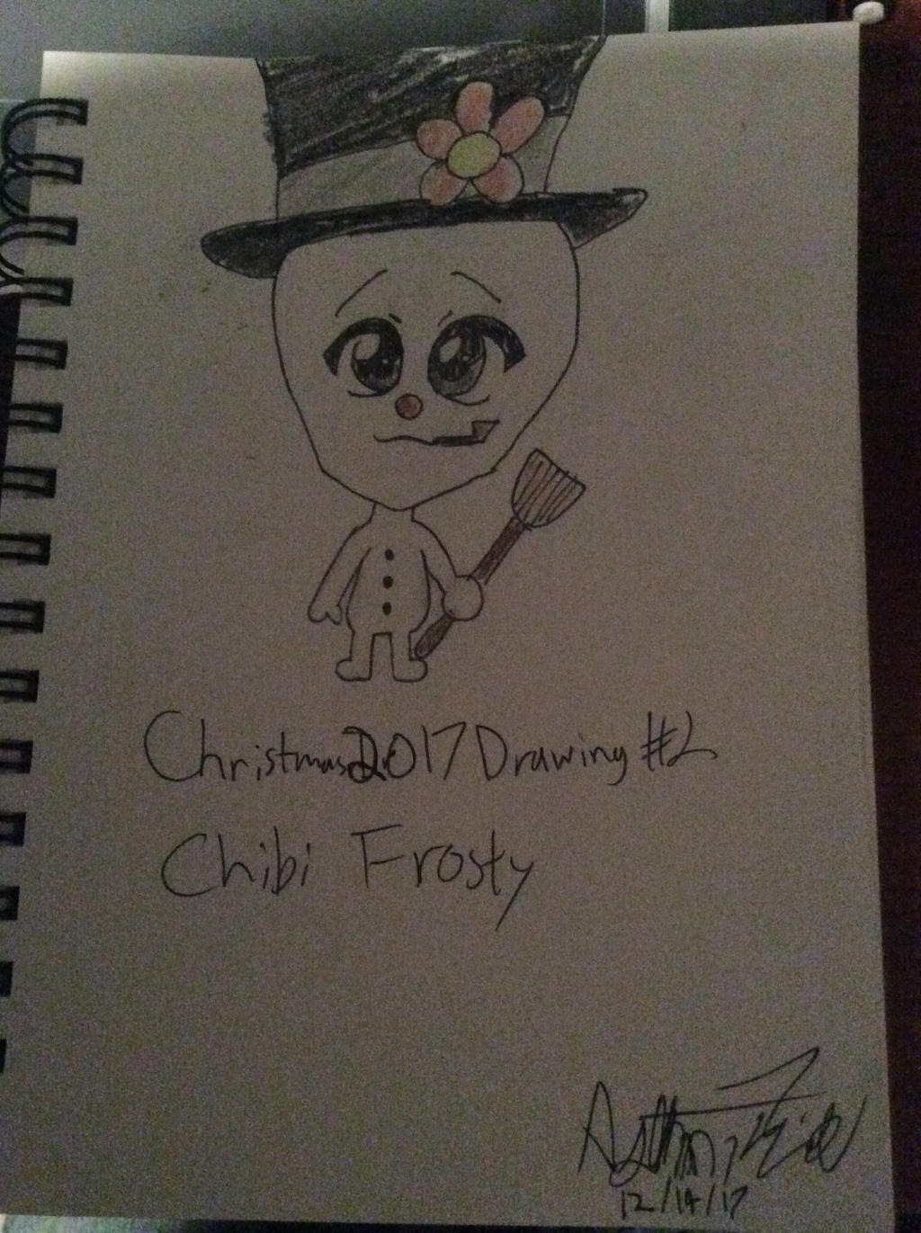 Christmas 2017 Drawing #2: Chibi Frosty by doctorwhooves253