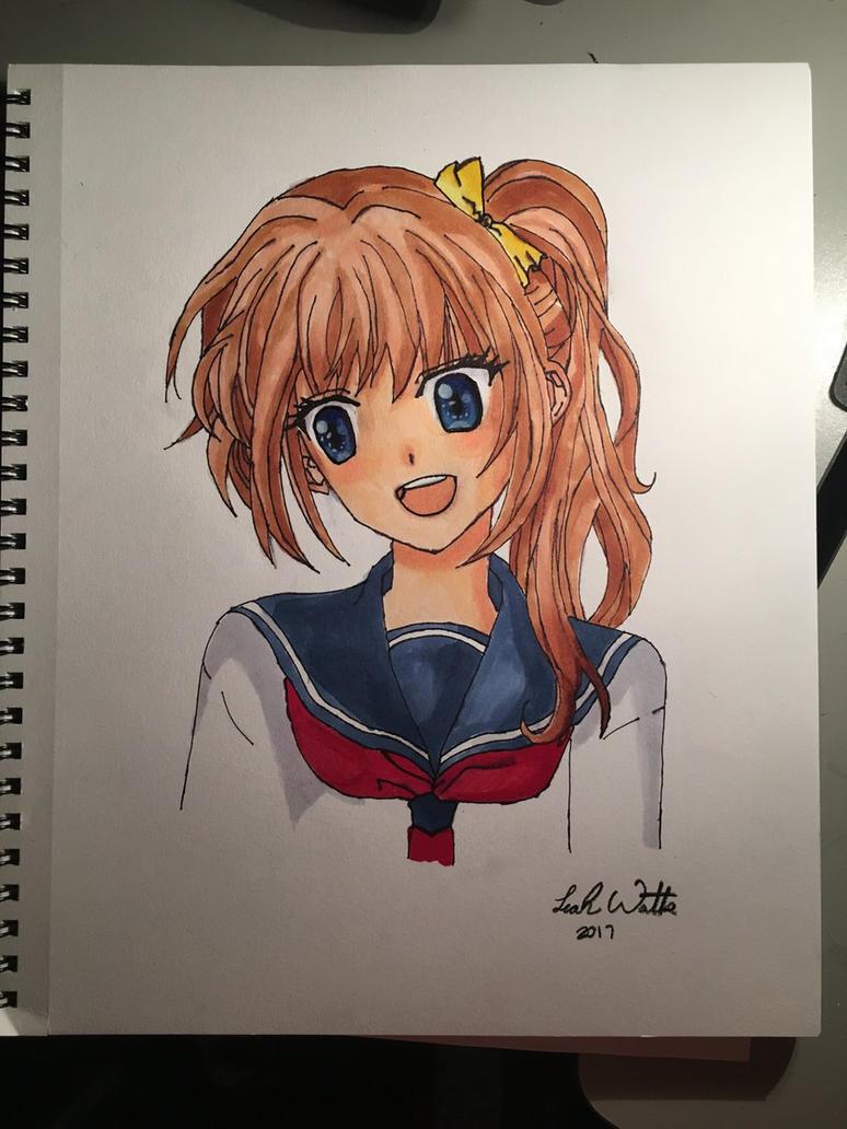 Anime school girl by RAEW219