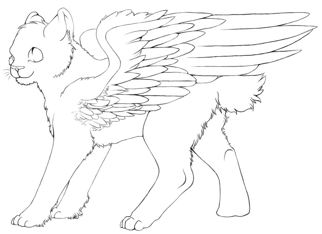 Warrior cat coloring games - Free Winged Cat Lineart By Color Freak1