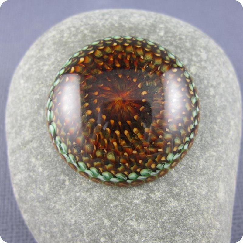 Protea, art glass lampwork cabochon, 32mm diameter by janehamill