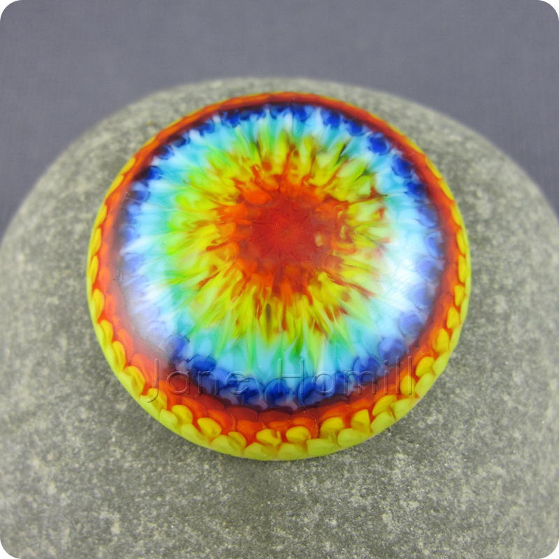 Rainbow Burst art glass lampwork cabochon, 32mm by janehamill
