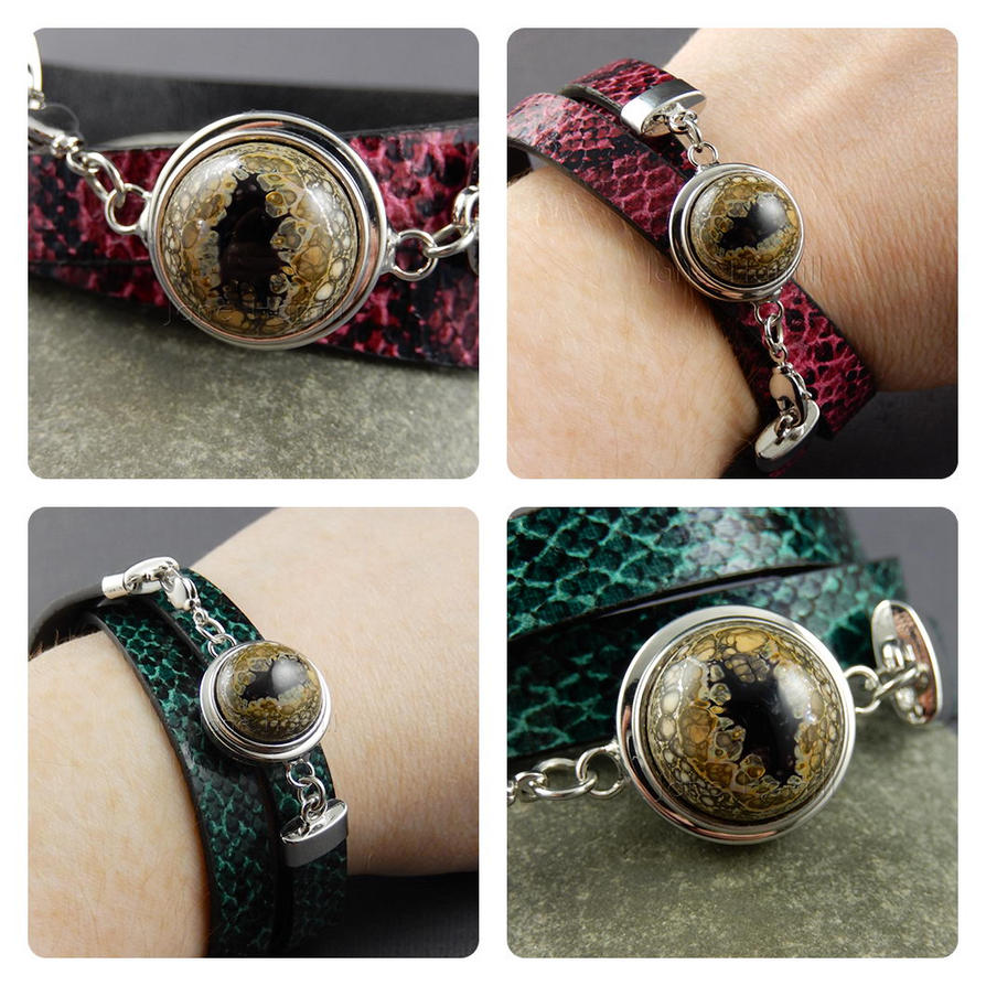 Dragons Eye Bracelet with internchangeable popper by janehamill