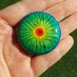 Rainbow Tie-Dye 4cm lampwork glass cabochon by janehamill
