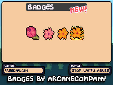 PixelArt Sakura flowers Sub Badges