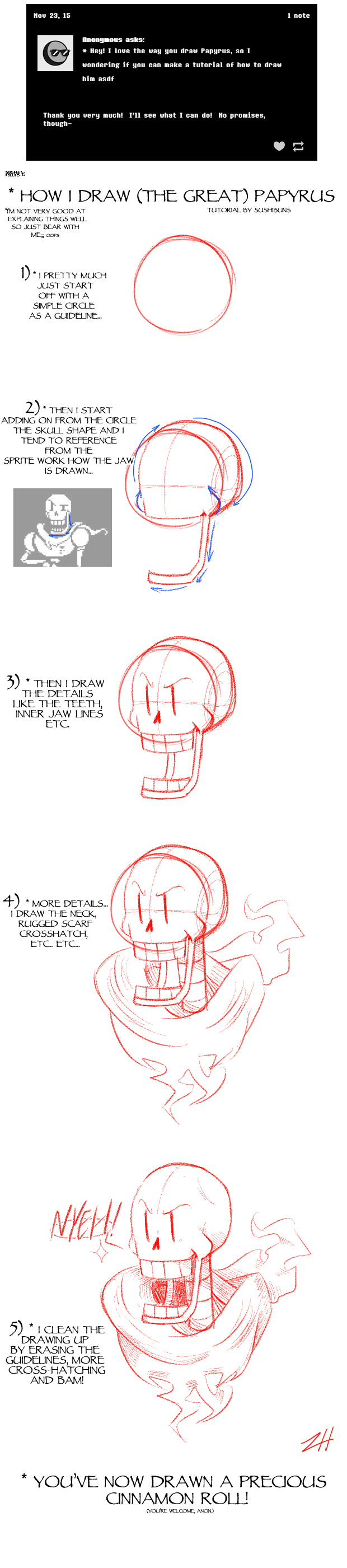 How I draw (The Great) Papyrus by Sushirolled on DeviantArt