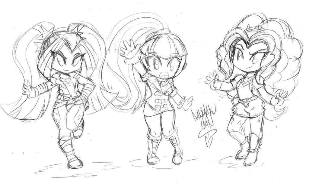 My Little Pony Dazzlings Coloring Pages. The Chibi Dazzlings  Sketch by DANMAKUMAN on DeviantArt