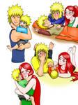 Minato, Kushina and Naruto fanart