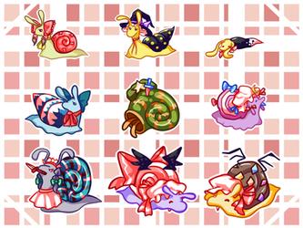 Touhou SDM as snails by Snail-kun