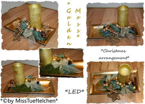 Golden Moss Christmas arrangement