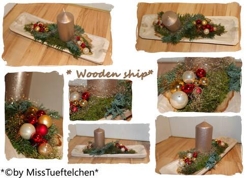 wooden ship Christmas arrangement