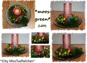 moos green Christmas arrangement
