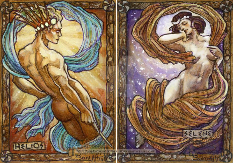 Helios and Selene by BohemianWeasel