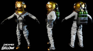 Diver 3D Character Model Turn Table