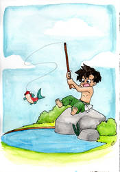 Watercolor 03: Herowitz Fishing by LilBruno