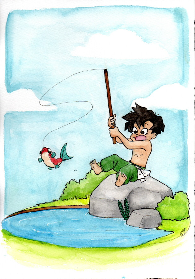 Watercolor 03: Herowitz Fishing by LilBruno