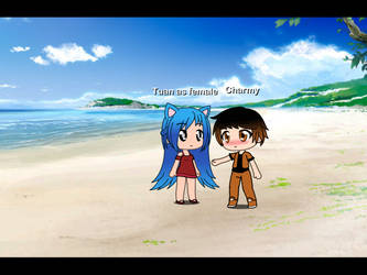 on beach with charmy by Teaganm