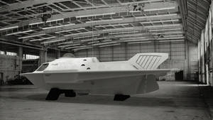 Proteus submarine in hangar - rear view, port side