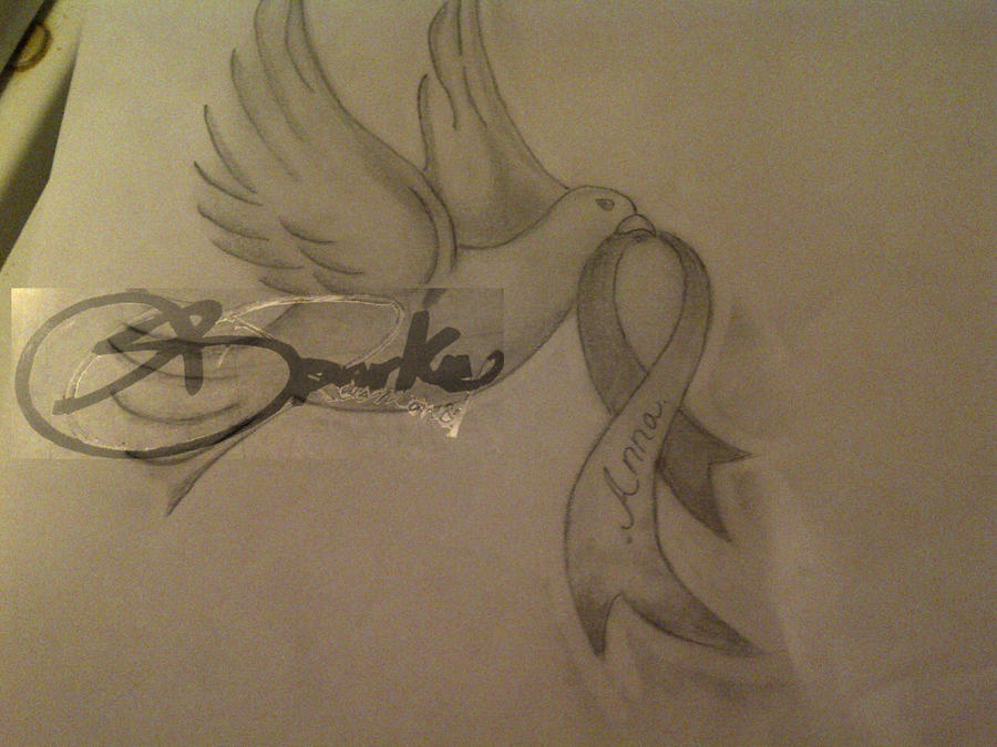 28 dove with ribbon tattoo designs dove breast for Two doves tattoo