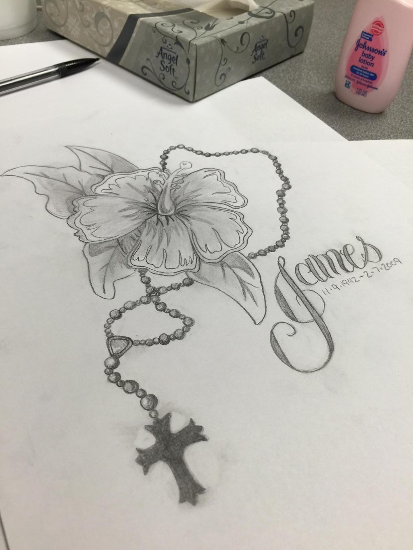 flower rosary memorial tattoo by donteventripbro on deviantart. Black Bedroom Furniture Sets. Home Design Ideas