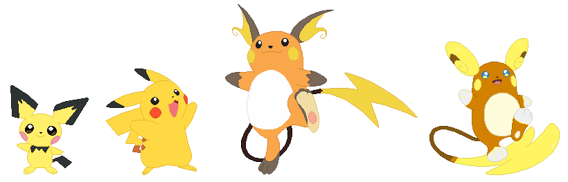 Pichu Pikachu And Raichu Base By Selenaede On Deviantart