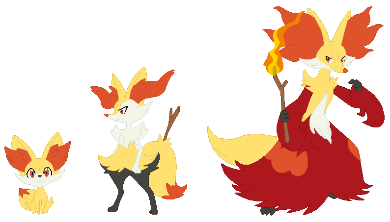 fennekin braixen and delphox base by selenaede