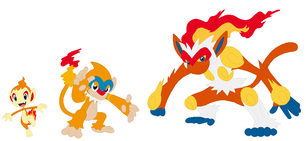 Chimchar, Monferno and Infernape Base by SelenaEde on ...