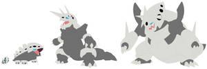 Aron, Lairon, Aggron and Mega Aggron Base by SelenaEde