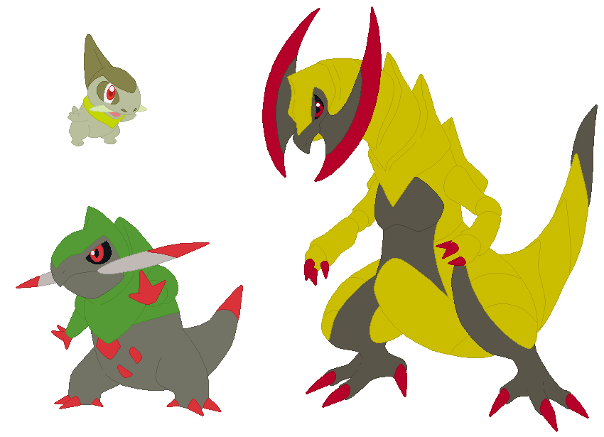 Axew Fraxure And Haxorus Base By Selenaede On Deviantart