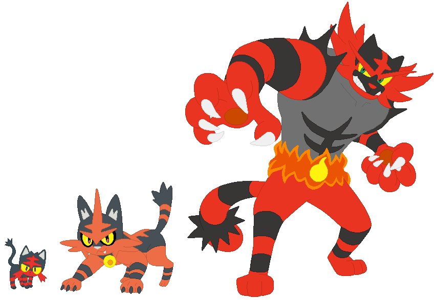 Litten Torracat And Incineroar Base By SelenaEde On
