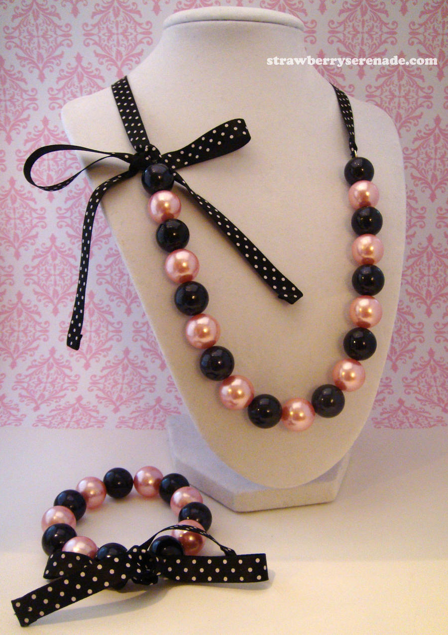 Pink and Black Pearl Lolita Ribbon Jewelry Set by Strawberryserenade