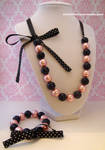 Pink and Black Pearl Lolita Ribbon Jewelry Set