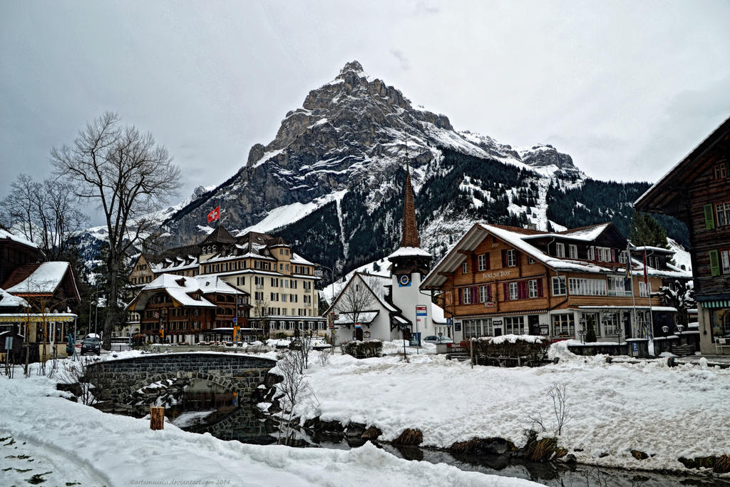 Kandersteg Village under Birre Mountain by artamusica