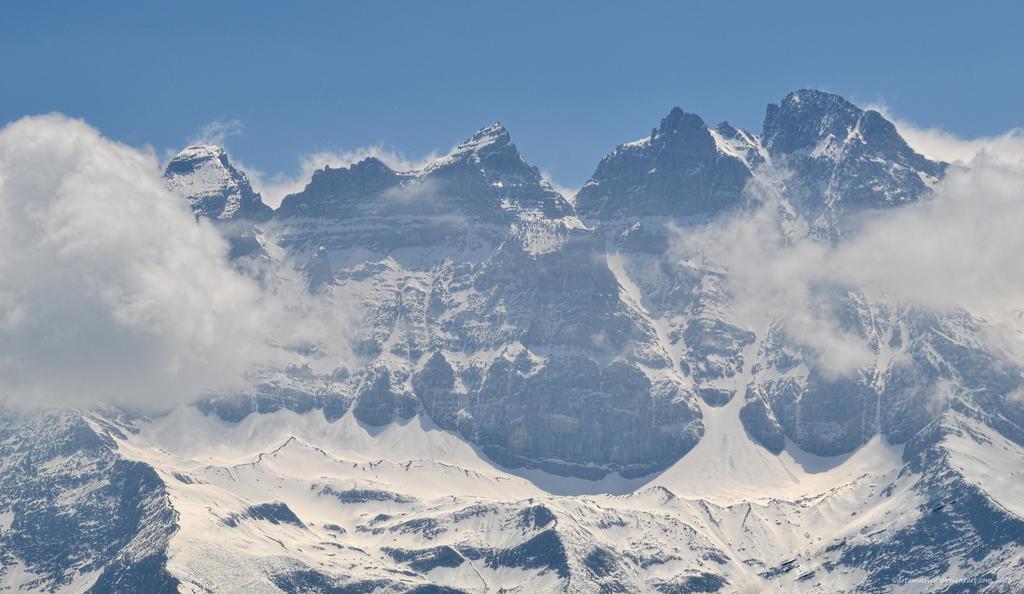 The Peaks of the Dents du Midi from Morgins by artamusica