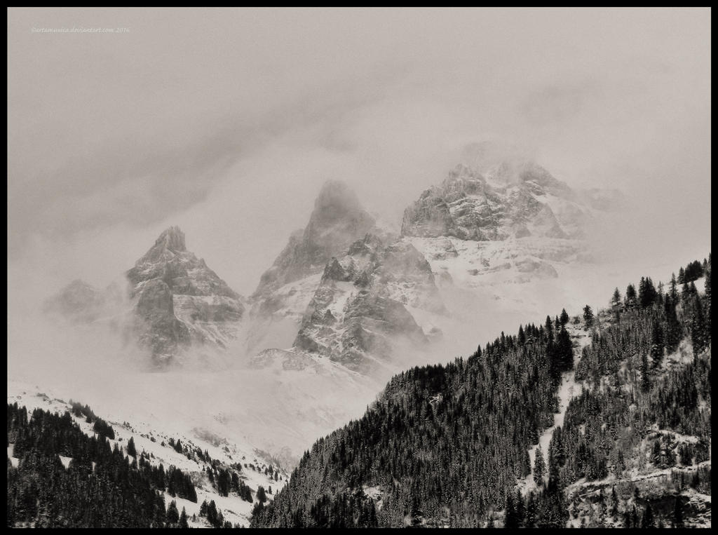 Les Dents du Midi in fog by artamusica