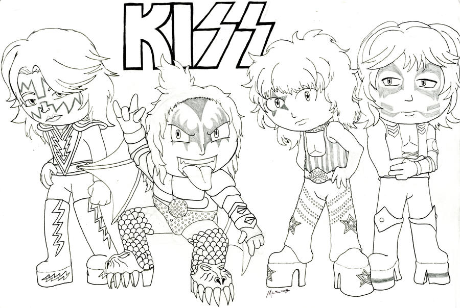 Rock and metal chibis kiss by hypothermus on deviantart for Rock band coloring pages