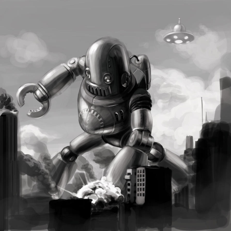 Retro robot from outer space by justsantiago on deviantart for Vintage outer space decor