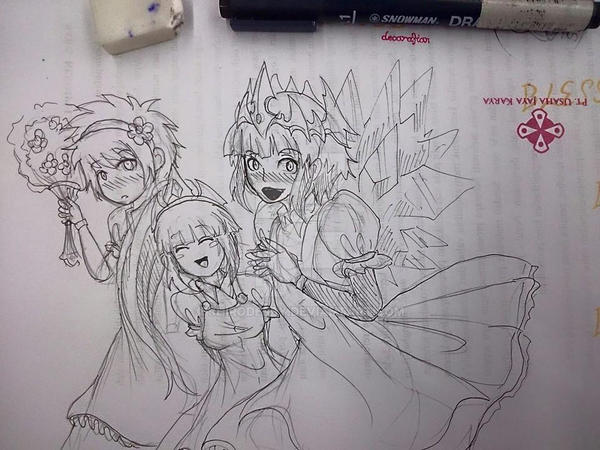 doodle trio Maid by shirodebby