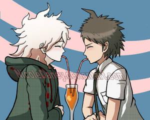 Drinking juice with Hinata-kun